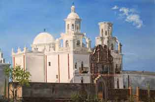 Ellen A. Cook oil painting of San Xavier Mission