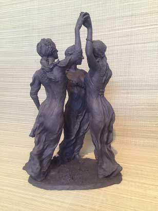 After Botticelli-Three Graces ceramic sculpture by Ellen A. Cook