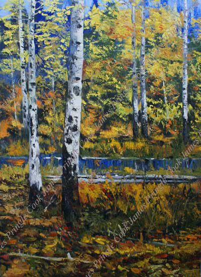 James Pringle Cook oil painting of aspen trees and glimpse of lake near center of painting