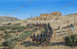 Ellen A. Cook oil painting of Ft. Bowie calvary