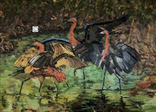DeAnn Melton oil painting of reddish egrets