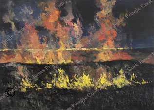 Flint Hills prairie fire oil painting by James Pringle Cook